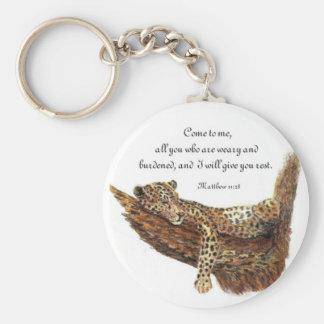Inspirational, Scripture, Matthew 11:28, Leopard Basic Round Button Keychain