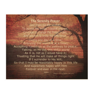 inspirational serenity prayer quote wood wall art