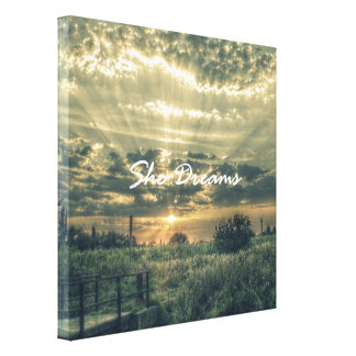 Inspirational She Dreams Quote Canvas Print