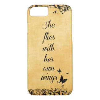 Inspirational She Flies with her own Wings Quote iPhone 7 Case