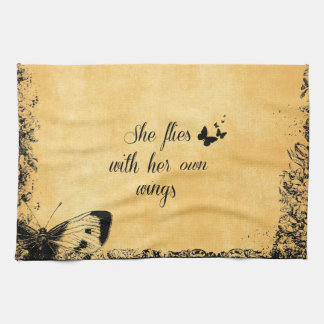 Inspirational She Flies with her own Wings Quote Kitchen Towel