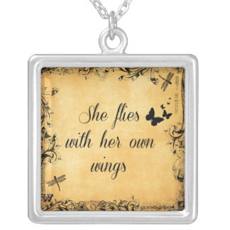 Inspirational She Flies with her own Wings Quote Silver Plated Necklace