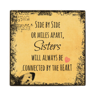 Inspirational Sister Quote Wood Coaster