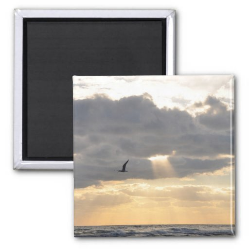 Inspirational Sun Beams Hole In Clouds Magnet