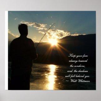 Inspirational Sunset Fishing Silhouette print