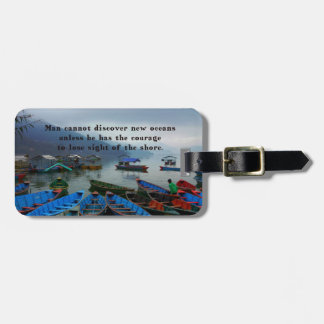 Inspirational Travel quote DISCOVERY boat photo Bag Tag