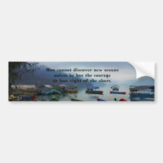 Inspirational Travel quote DISCOVERY boat photo Bumper Sticker