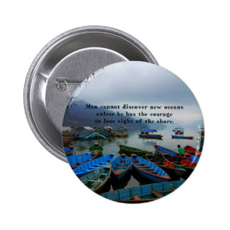 Inspirational Travel quote DISCOVERY boat photo 2 Inch Round Button