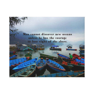 Inspirational Travel quote DISCOVERY boat photo Canvas Print