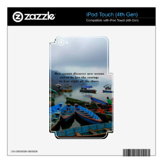 Inspirational Travel quote DISCOVERY boat photo iPod Touch 4G Decals