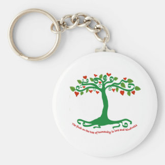 Inspirational tree bearing the fruits of humanity keychains