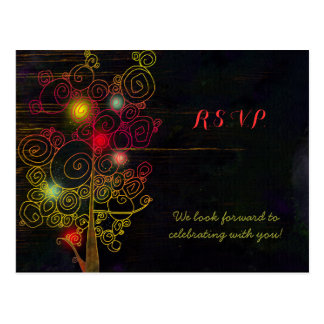 Inspirational Trees Rustic Wedding RSVP Postcard