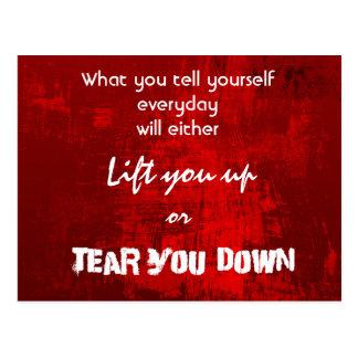 Inspirational Typography Quote on Self-Esteem Postcard