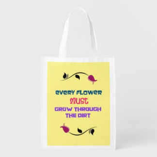 Inspirational Typography Quote with Flower Drawing Grocery Bag