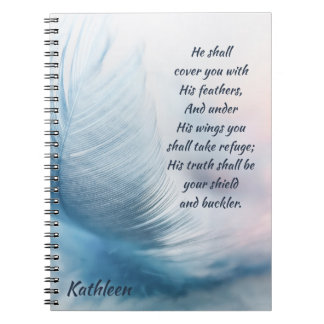 Inspirational Uplifting Psalm 91:4 Under His Wings Notebook