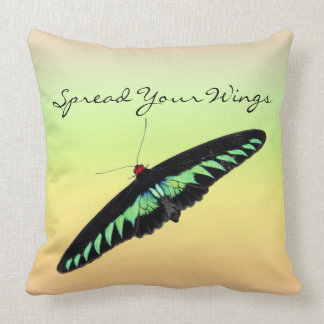 Inspirational Vibrant Butterfly Spread Your Wings Throw Pillow