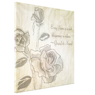 Inspirational Vintage Rose Wrapped Canvas Canvas Print