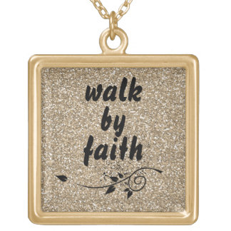 Inspirational Walk by Faith Square Pendant Necklace