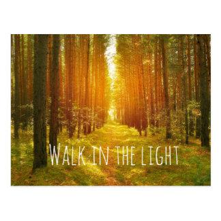 Inspirational Walk in the Light Bible Verse Postcard