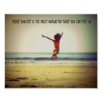 """Inspirational wall art """"Be yourself quote"""" beach"""