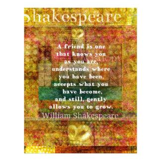 Inspirational William Shakespeare Quote FRIENDSHIP Custom Letterhead