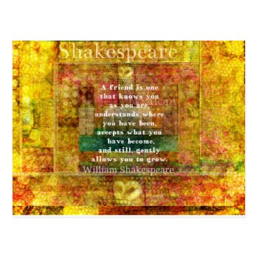shakespearequotes Inspirational William Shakespeare Quote FRIENDSHIP Postcard