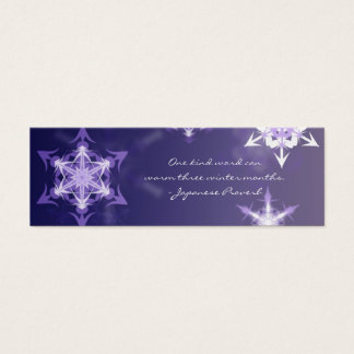 Inspirational winter snowflake bookmark with quote mini business card