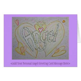 Inspirational Word Angel Art Custom Greeting Cards