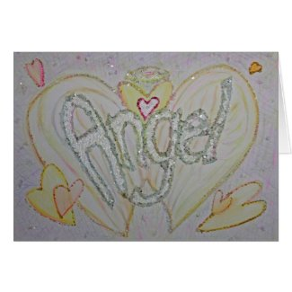 Inspirational Word Angel Art Greeting or Note Card