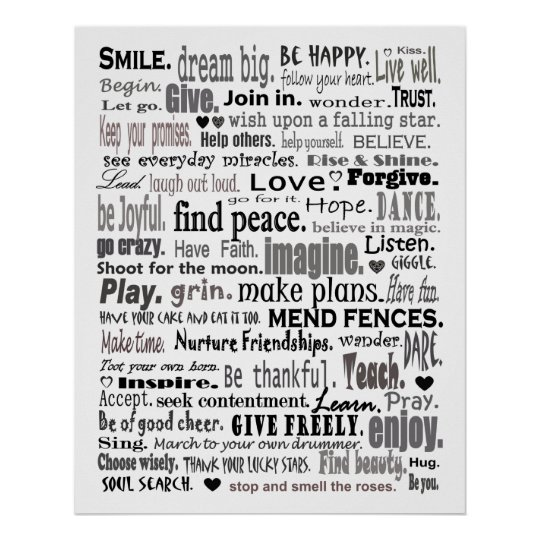 Inspirational Word Art Collage Poster | Zazzle.Com