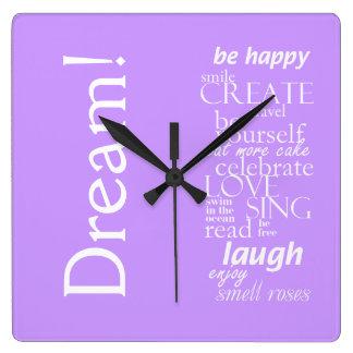 inspirational word cloud - dream laugh, love, sing square wall clocks