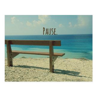 Inspirational Word: Pause Beach Scene Postcard