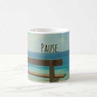 Inspirational Word: Pause Beach Theme Coffee Mug