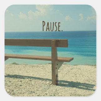 Inspirational Word: Pause Beach Theme Square Sticker