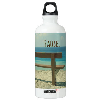 Inspirational Word: Pause Beach Theme Water Bottle