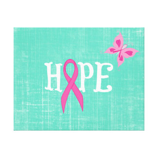 Inspirational Word with Pink Awareness Ribbon Stretched Canvas Prints
