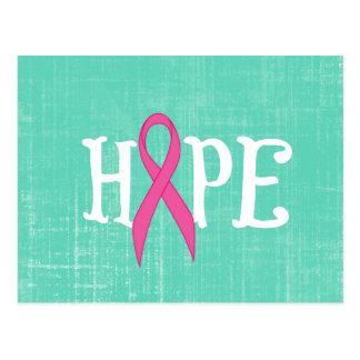 Inspirational Word with Pink Awareness Ribbon Postcard