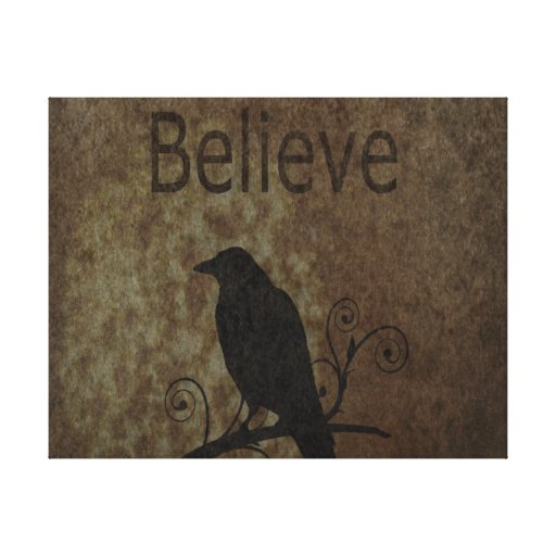Inspirational Words Believe with Vintage Crow Gallery Wrapped Canvas
