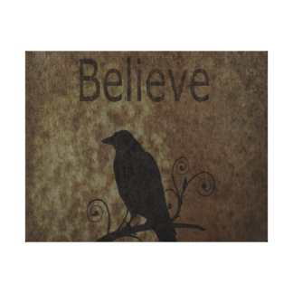 Inspirational Words Believe with Vintage Crow Canvas Print