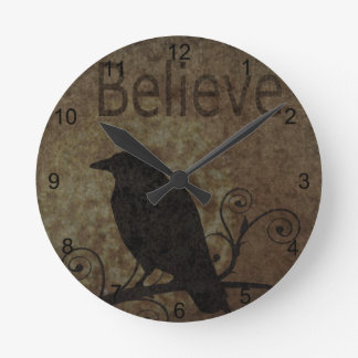 Inspirational Words Believe with Vintage Crow Round Wallclock