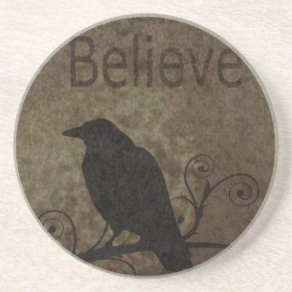 Inspirational Words Believe with Vintage Crow Drink Coaster