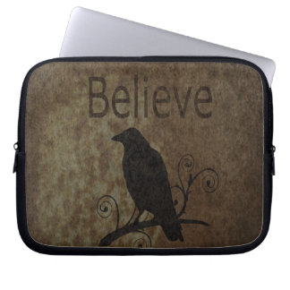 Inspirational Words Believe with Vintage Crow Computer Sleeve