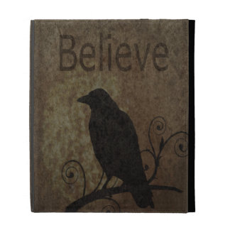 Inspirational Words Believe with Vintage Crow iPad Folio Cover