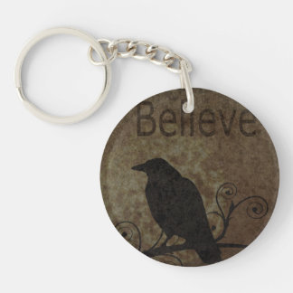 Inspirational Words Believe with Vintage Crow Keychain