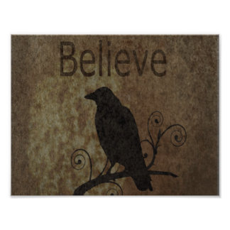 Inspirational Words Believe with Vintage Crow Photo Print