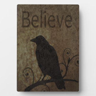 Inspirational Words Believe with Vintage Crow Plaque