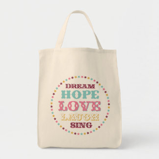 Inspirational Words/ Dream/ Love/ Hope Tote Grocery Tote Bag