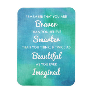 Inspirational Words on Blue Watercolor Background Magnet