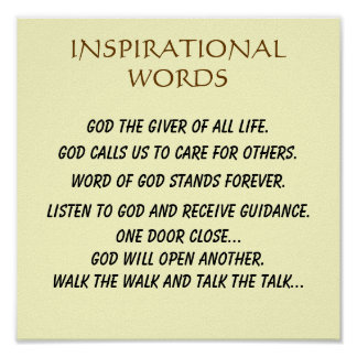 """""""INSPIRATIONAL WORDS PLAQUE"""" POSTER"""