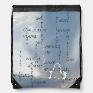 Inspirational Words to Live by for Happiness Drawstring Bag